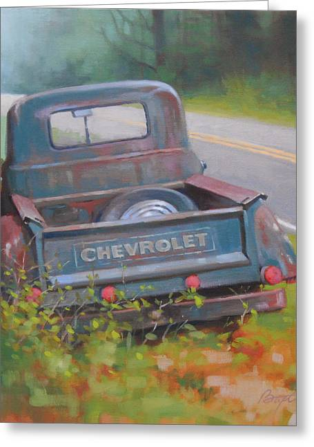 Old Country Roads Paintings Greeting Cards - Abandoned Chevy Greeting Card by Todd Baxter