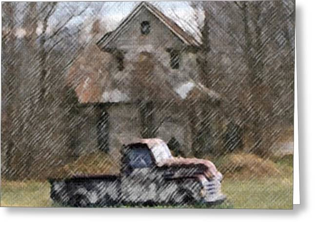 Winter Scenes Rural Scenes Mixed Media Greeting Cards - Abandoned Greeting Card by Dennis Buckman