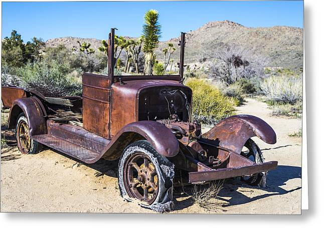 Rusted Cars Photographs Greeting Cards - Abandoned Desert Car Greeting Card by Joseph S Giacalone