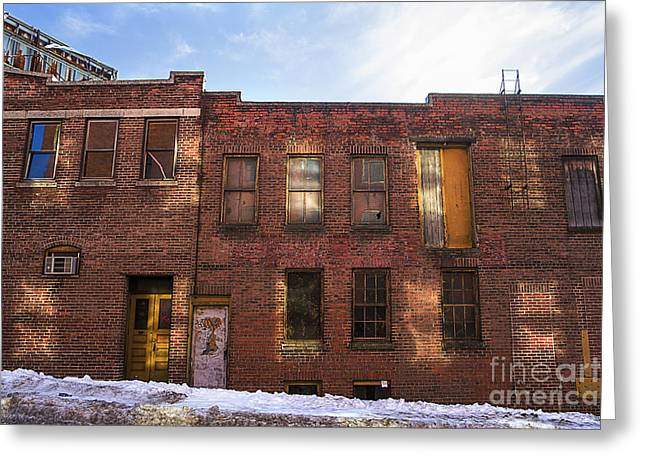 Urban Buildings Greeting Cards - Abandoned Greeting Card by Diane Diederich
