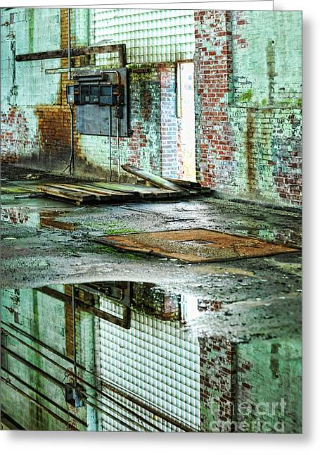 Glass Reflections Greeting Cards - Abandoned Factory Interior Greeting Card by HD Connelly