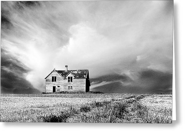 Mid West Landscape Art Greeting Cards - Abandoned Farm House in Stubble Field Greeting Card by Donald  Erickson