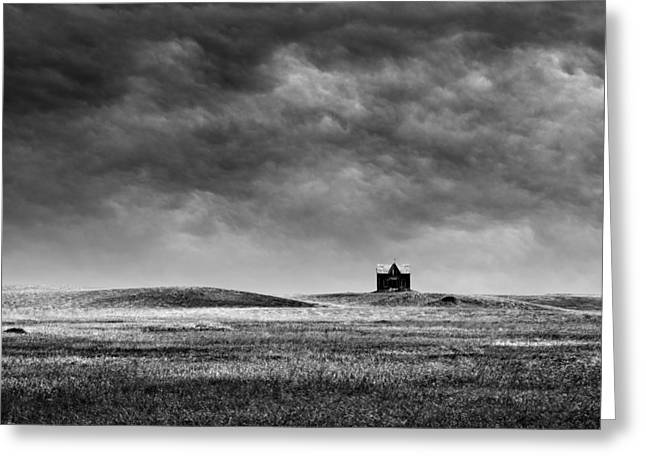 Old House Photographs Greeting Cards - Abandoned Farm House on Hill Top Greeting Card by Donald  Erickson