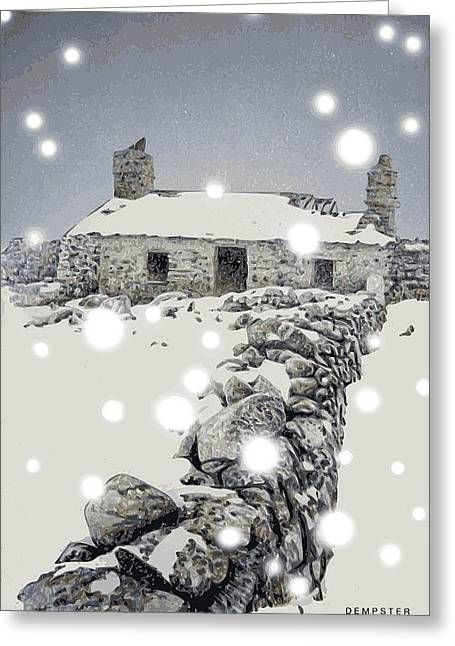 Winter Storm Greeting Cards - Abandoned farm in Winter Greeting Card by Alwyn Dempster Jones