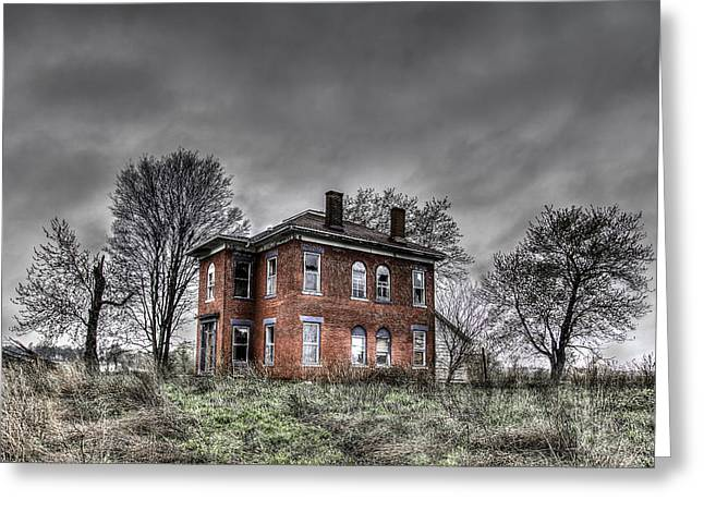 White Digital Greeting Cards - Abandoned Farmhouse before the Storm Greeting Card by Jon Dickson