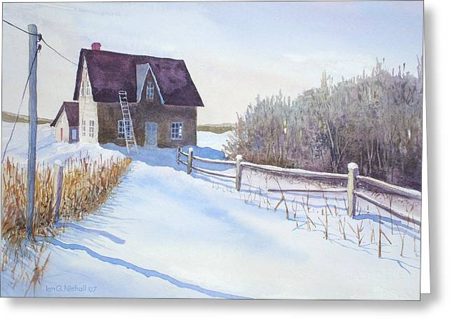 Drifting Snow Paintings Greeting Cards - Abandoned Farmhouse Greeting Card by Ian Nicholl