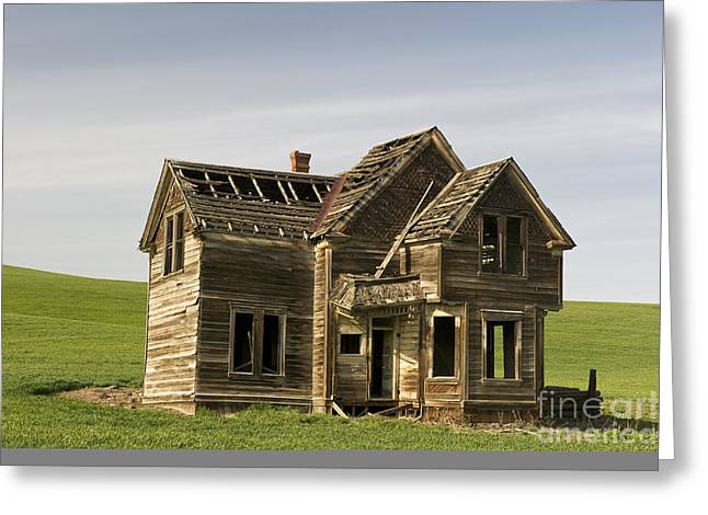 Old Barns Greeting Cards - Abandoned Farmhouse Greeting Card by John Shaw