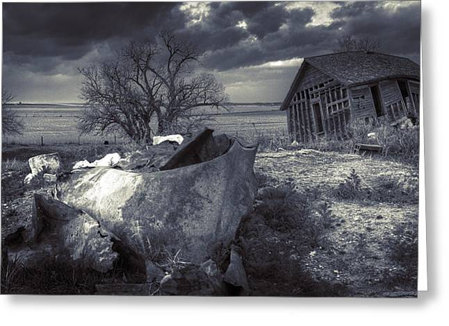 Abandoned Houses Greeting Cards - Abandoned Farmstead BW Greeting Card by Thomas Zimmerman