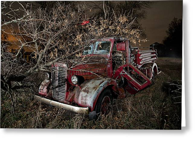 Great American Past Time Greeting Cards - Abandoned Firetruck at Night Greeting Card by Tom Phelan