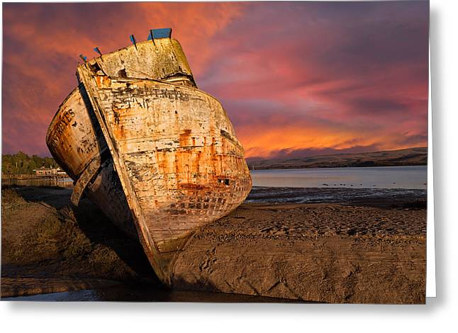 Marin County Greeting Cards - Abandoned Fishing Boat at Inverness Greeting Card by Kathleen Bishop