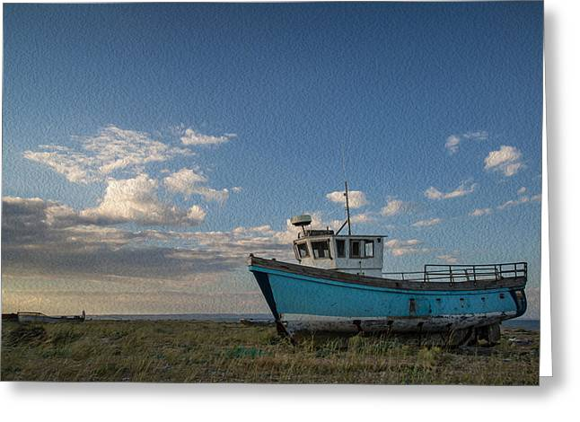 Wooden Building Greeting Cards - Abandoned fishing boat digital painting Greeting Card by Matthew Gibson