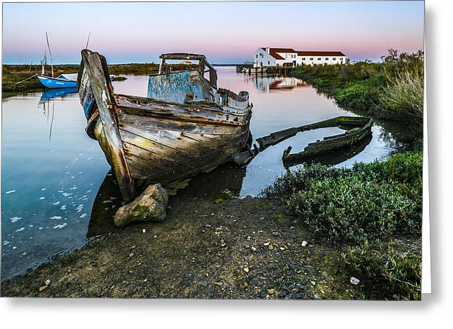 Wooden Ship Greeting Cards - Abandoned Fishing Boat II Greeting Card by Marco Oliveira