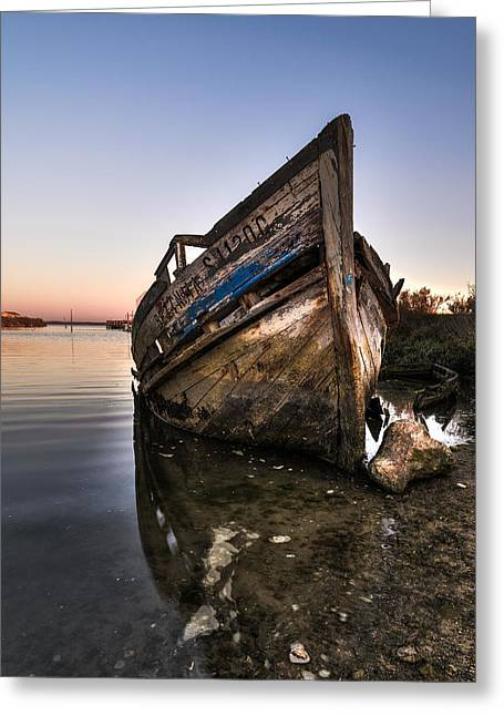 Wooden Ship Greeting Cards - Abandoned Fishing Boat IV Greeting Card by Marco Oliveira
