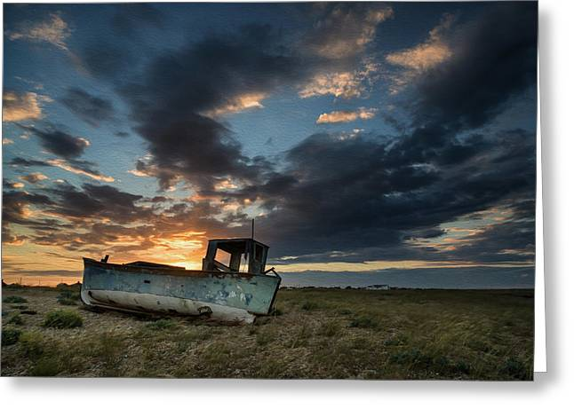 Wooden Building Greeting Cards - Abandoned fishing boat sunset landscape digital painting Greeting Card by Matthew Gibson