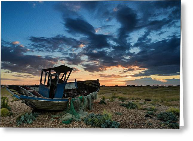 Wooden Building Greeting Cards - Abandoned fishing boatsunset landscape digital painting Greeting Card by Matthew Gibson