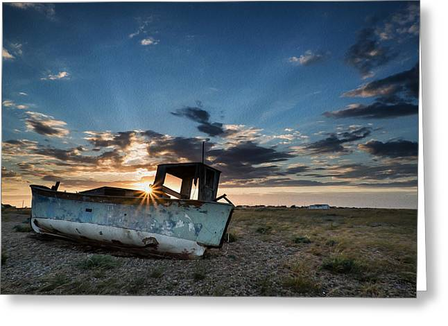Wooden Building Greeting Cards - Abandoned fishing sunset digital painting Greeting Card by Matthew Gibson