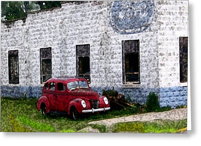 Collector Car Mixed Media Greeting Cards - Abandoned Ford Garage Greeting Card by Dennis Buckman