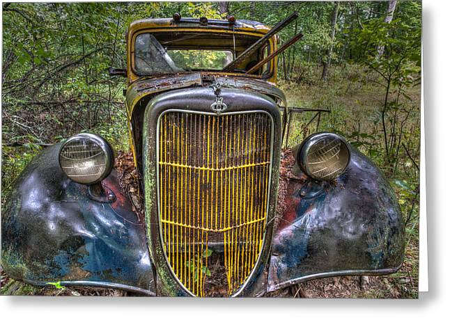 Lichen Photo Greeting Cards - Abandoned Ford Greeting Card by Paul Freidlund