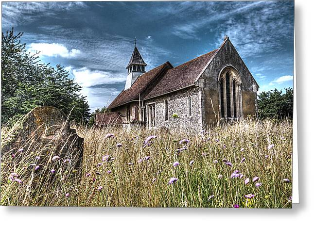 Medieval Buildings Greeting Cards - Abandoned Grave In The Churchyard Greeting Card by Gill Billington