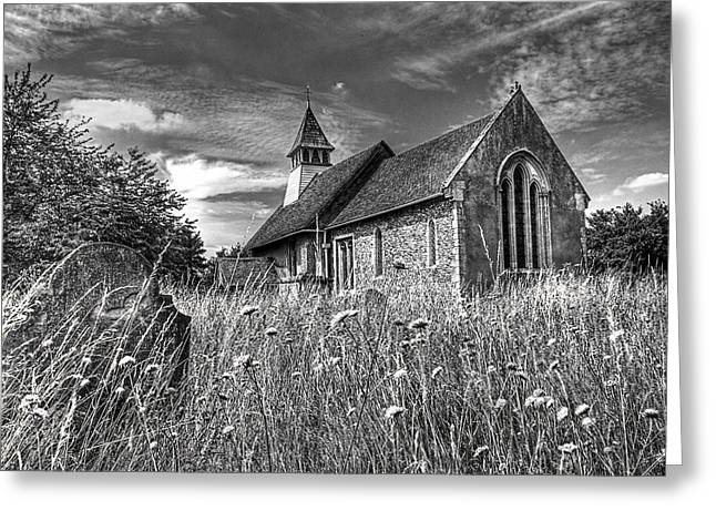Medieval Buildings Greeting Cards - Abandoned Graveyard in Black and White Greeting Card by Gill Billington