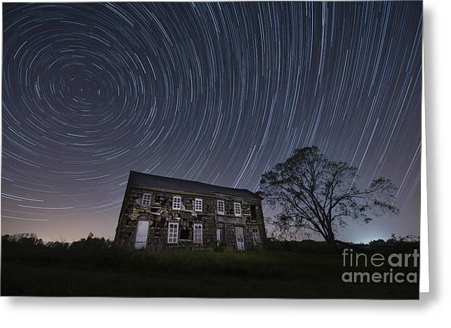 Abandoned History Star Trails Greeting Card by Michael Ver Sprill