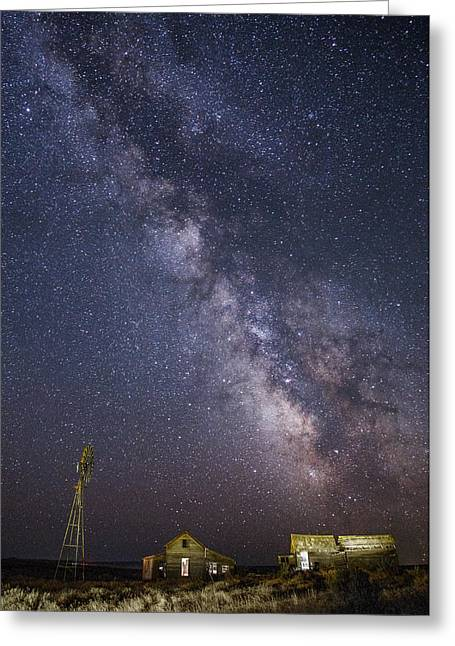 Abandoned Homestead And The Milky Way Greeting Card by Angie Vogel
