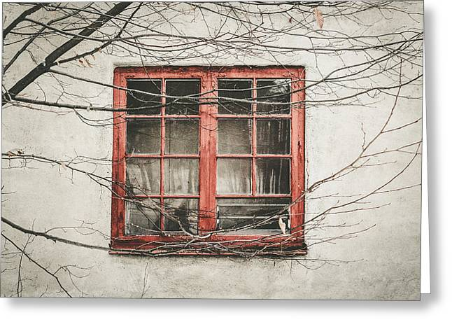 Abandoned House Detail With Old Wooden Window II Greeting Card by Aldona Pivoriene