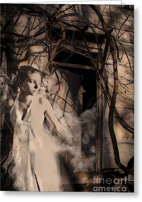 Layer Greeting Cards - Fantasy- Abandoned House - Even The Last Ghost Left Greeting Card by Feryal Faye Berber
