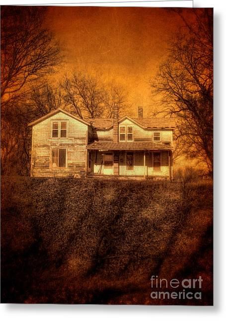 Abandoned House Sunset Greeting Card by Jill Battaglia