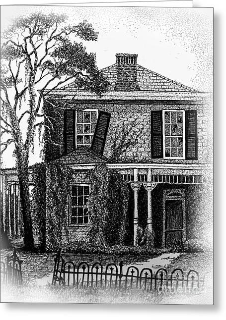 Abandoned Houses Drawings Greeting Cards - Abandoned House Greeting Card by Tanya Crum
