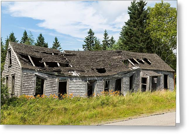 Rural Maine Roads Greeting Cards - Abandoned Greeting Card by John Bailey
