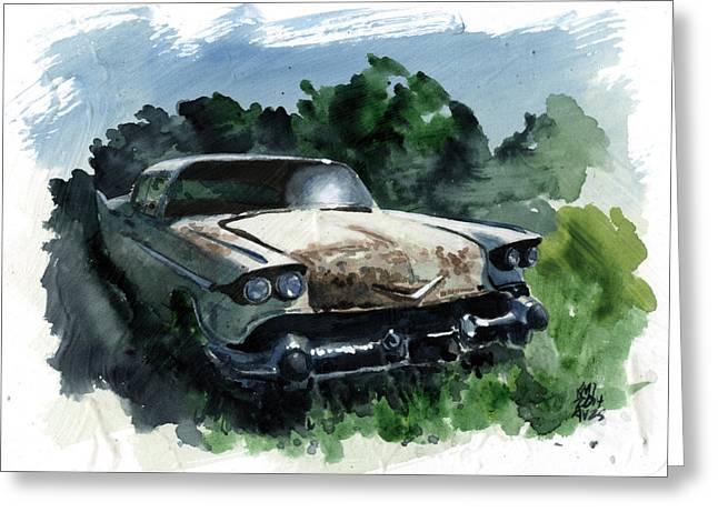 Rusted Cars Paintings Greeting Cards - Abandoned Greeting Card by Ken Meyer jr