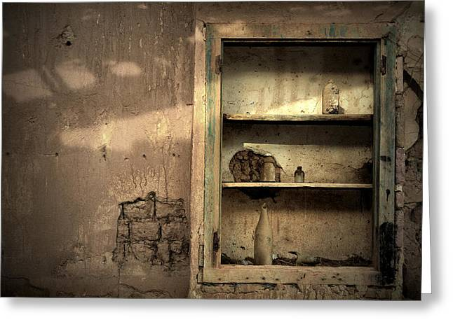 Fine Bottle Greeting Cards - Abandoned kitchen cabinet Greeting Card by RicardMN Photography