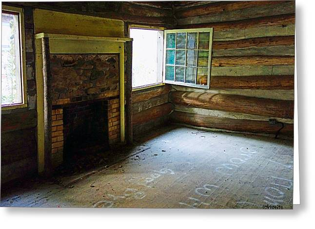 Log Cabins Greeting Cards - Abandoned Log Cabin Elkmont Old House Window Fireplace Greeting Card by Rebecca Korpita