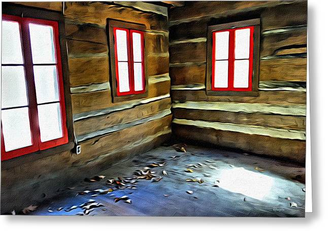 Log Cabin Interiors Digital Greeting Cards - Abandoned Log Cabin Red Windows Greeting Card by Rebecca Korpita