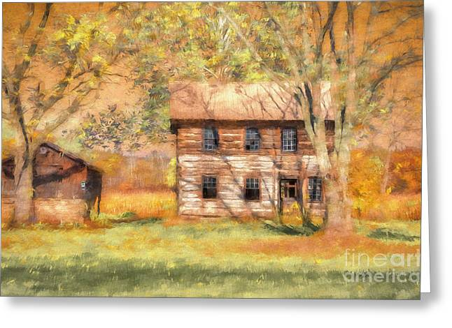 Cabin Window Digital Art Greeting Cards - Abandoned Greeting Card by Lois Bryan