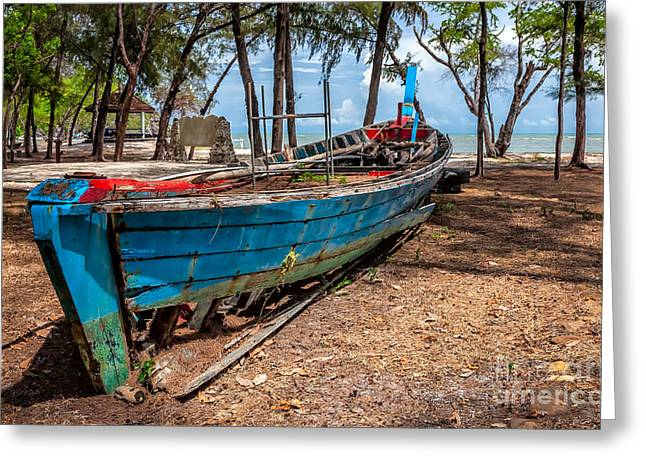 Longboat Greeting Cards - Abandoned Longboat Greeting Card by Adrian Evans