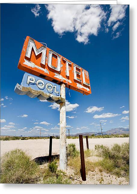 Signed Photographs Greeting Cards - Abandoned Motel Greeting Card by Peter Tellone