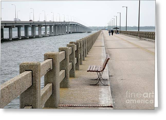 Best Sellers -  - Replacing Greeting Cards - Abandoned Old Bridge Alongside Newer Bridge over Choptank River at Cambridge Maryland Greeting Card by William Kuta