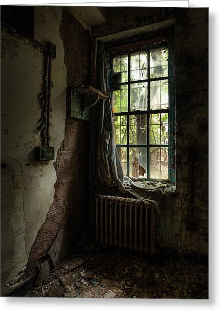 Quiet Places Greeting Cards - Abandoned - Old Room - Draped Greeting Card by Gary Heller