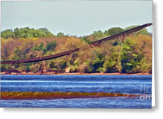 Industrial Background Greeting Cards - Abandoned On The Delaware River Greeting Card by Dawn Gari