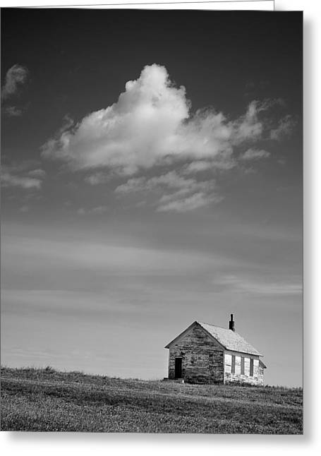 Mid West Landscape Art Greeting Cards - Abandoned One-room Country School Building Greeting Card by Donald  Erickson