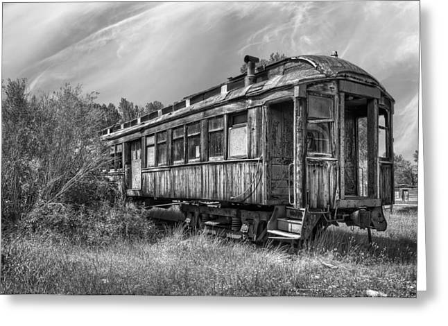 Train Depot Greeting Cards - Abandoned Passenger Train Coach Greeting Card by Daniel Hagerman