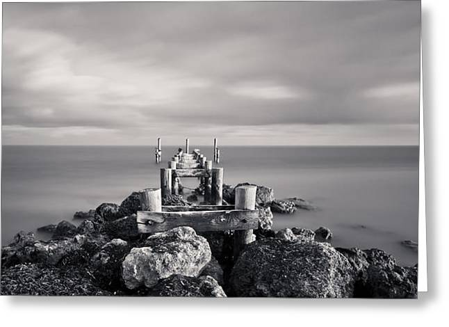 Ocean Panorama Greeting Cards - Abandoned Pier Greeting Card by Adam Romanowicz