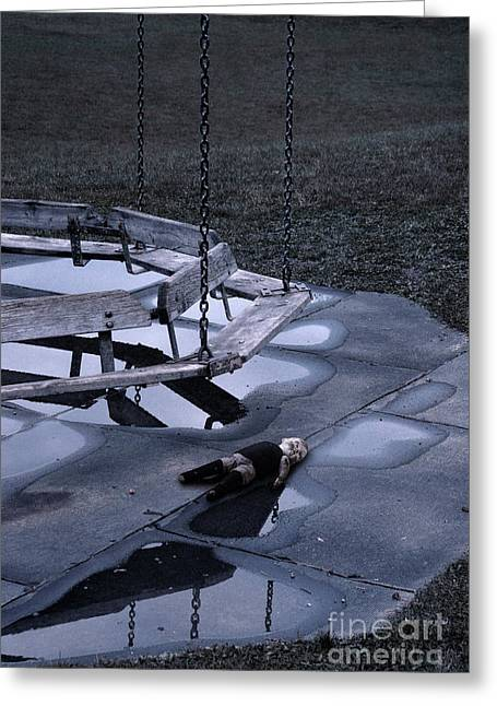 Abandoned Playground With Old Doll Left Behind Greeting Card by Jill Battaglia