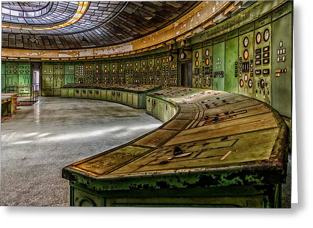 Power Plants Greeting Cards - Abandoned Power Plant Control Room Greeting Card by Mountain Dreams