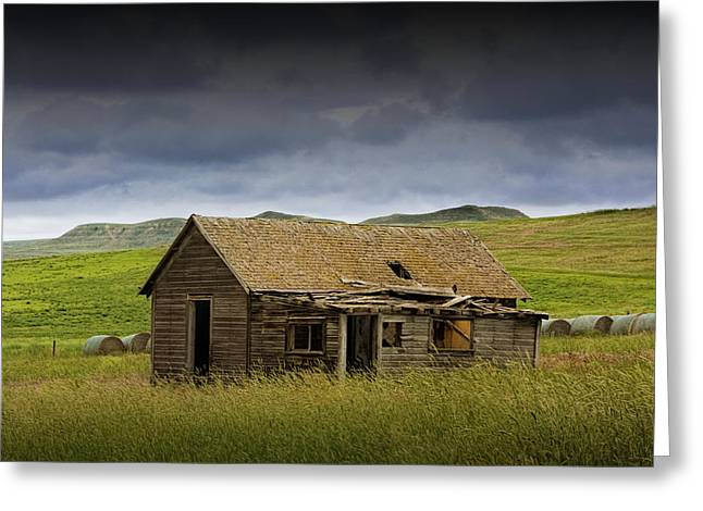 Rundown Barn Greeting Cards - Abandoned Prairie Farm House Greeting Card by Randall Nyhof