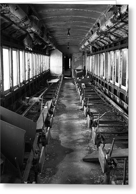One Point Perspective Greeting Cards - Abandoned Railcar Greeting Card by Sarah Kasper