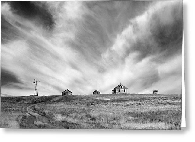 Mid West Landscape Art Greeting Cards - Abandoned Ranch Buildings Greeting Card by Donald  Erickson