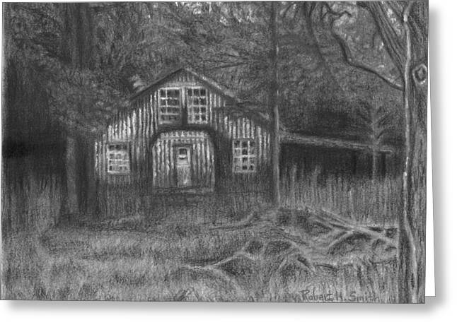 Overgrown Drawings Greeting Cards - Abandoned   Greeting Card by Robert H Smith